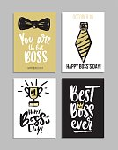 Boss's day card set with modern calligraphy.Gift tags with gold, black, white colors. Lettering deign for greeting cards or party invitations.
