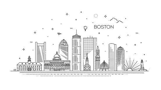 Boston architecture line skyline illustration. Linear vector cityscape with famous landmarks