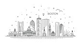 Cityscape Building Line art Vector Illustration design - Boston - Vector