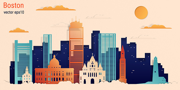 Boston city colorful paper cut style, vector stock illustration.