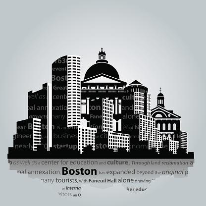 Boston city silhouette.