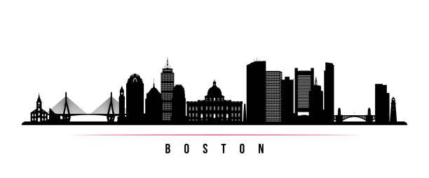 stockillustraties, clipart, cartoons en iconen met boston stad skyline horizontale banner. zwart-wit silhouet van de stad boston, usa. vector sjabloon voor uw ontwerp. - boston massachusetts