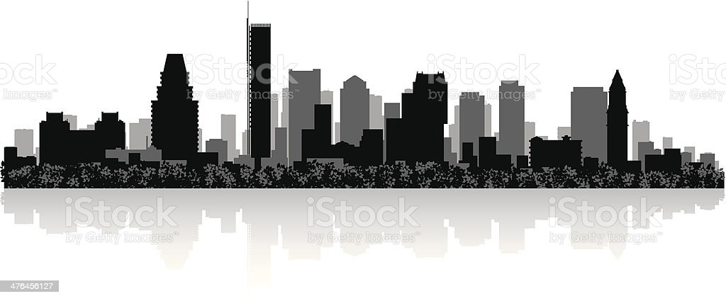 Boston City skyline silhouette vector art illustration