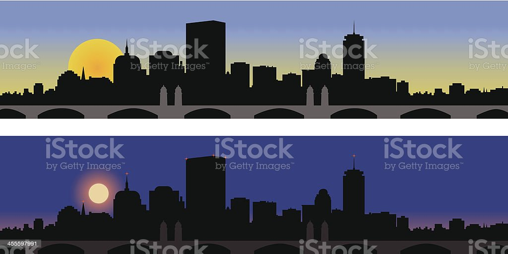 Boston Day and Night vector art illustration