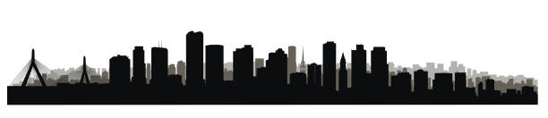 Boston downtown city skyline. USA skyscraper cityscape view vector art illustration