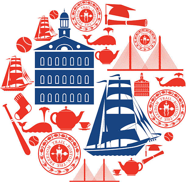 Boston Icon Montage vector art illustration