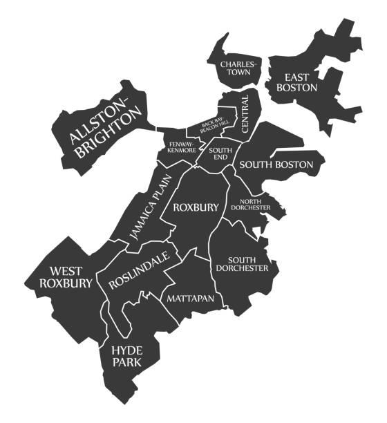 Royalty Free Boston Map Clip Art Vector Images Illustrations IStock - Boston neighborhood map