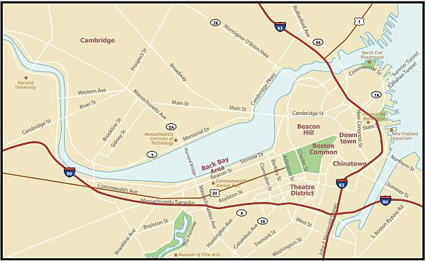 Boston Massachusetts Map vector art illustration