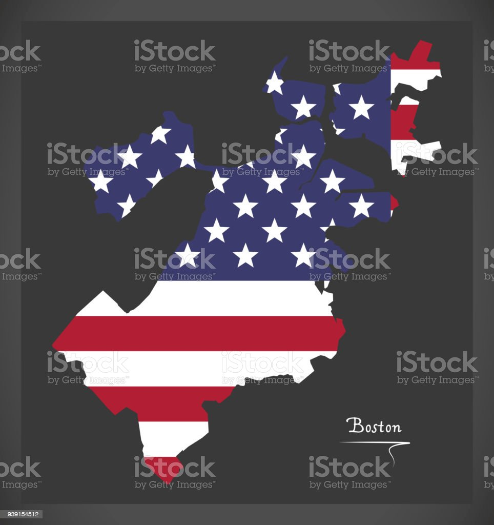 Boston Massachusetts map with American national flag illustration vector art illustration
