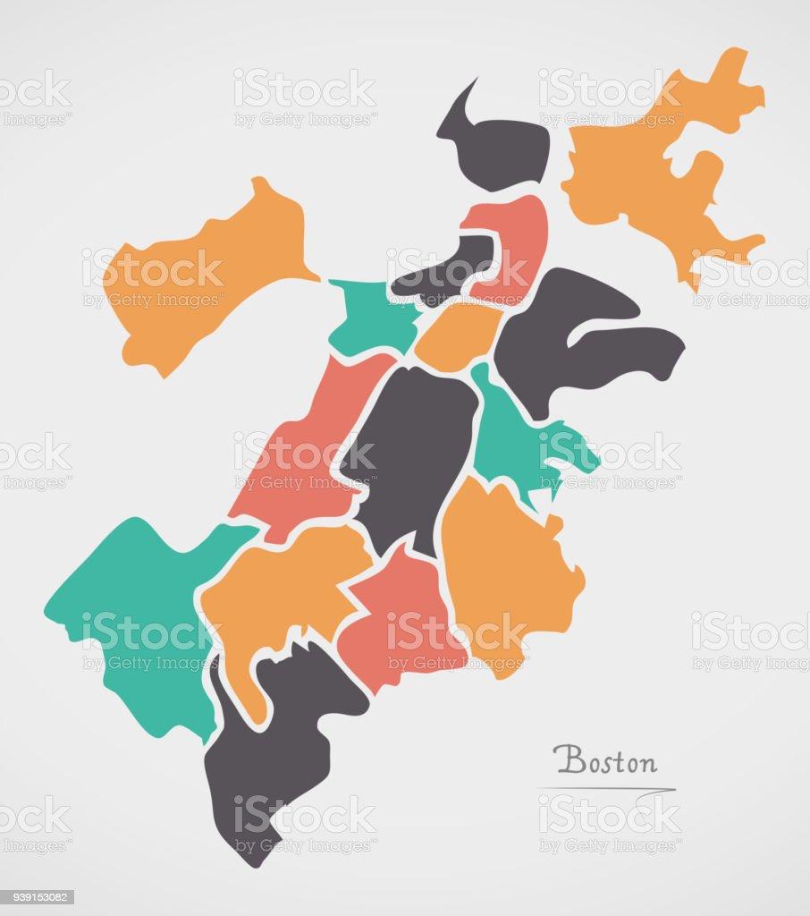 Ilustracin de mapa de massachusetts de boston barrios y modernas mapa de massachusetts de boston barrios y modernas formas redondas ilustracin de mapa de massachusetts de gumiabroncs Images