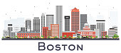 Boston Massachusetts Skyline with Gray and Red Buildings Isolated on White.