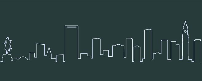 Boston Single Line Skyline