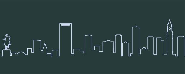 stockillustraties, clipart, cartoons en iconen met boston enkellijns skyline - boston massachusetts