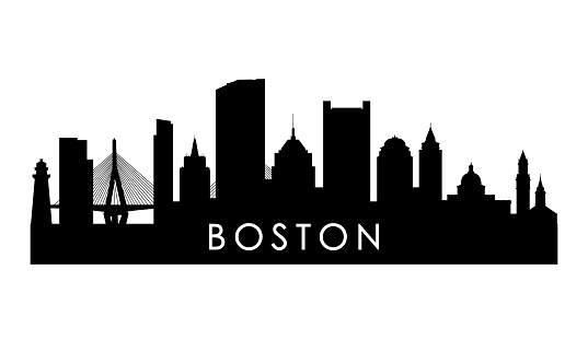 Boston skyline silhouette. Black Boston city design isolated on white background.