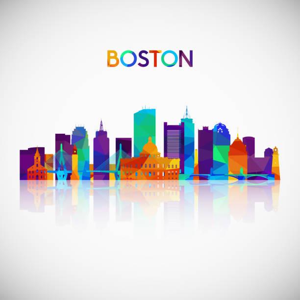 stockillustraties, clipart, cartoons en iconen met boston skyline van silhouet in kleurrijke geometrische stijl. symbool voor uw ontwerp. vectorillustratie. - boston massachusetts
