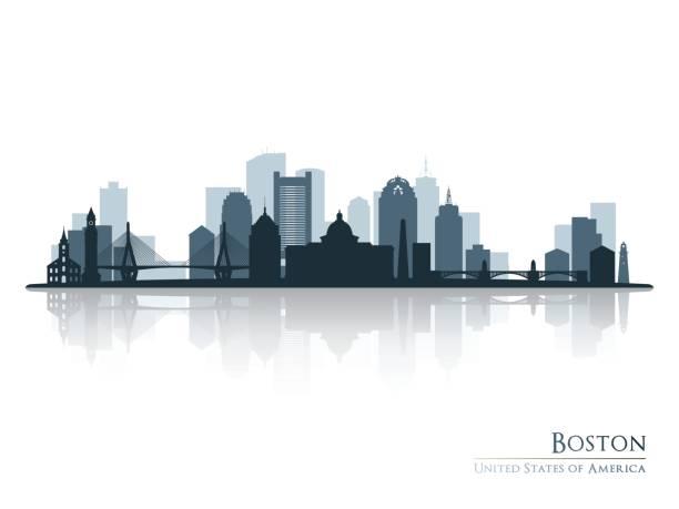 boston, manzarası siluet yansıması ile. vektör çizim. - panoramik stock illustrations