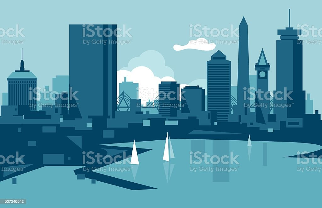 Boston Skyline vector art illustration