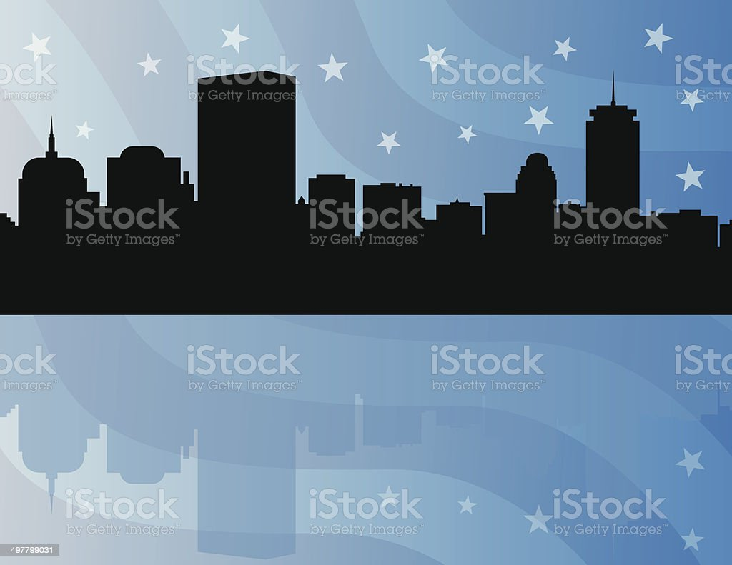 Boston Skyline with USA Flag Background vector art illustration