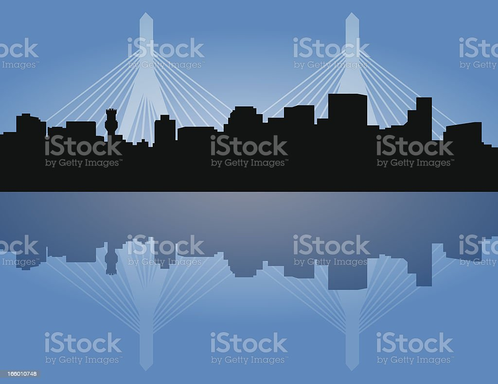 Boston Skyline with Zakim Bridge vector art illustration