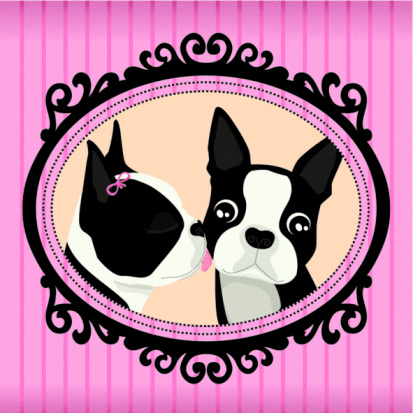 Download Boston Terrier In Love Stock Illustration - Download Image ...