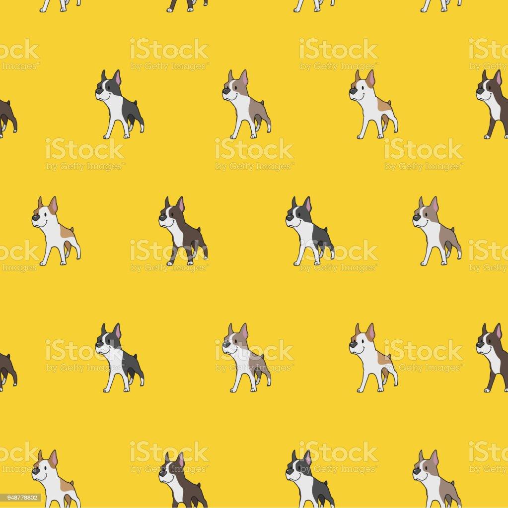 Boston Terrier Pattern in 4 Colors vector art illustration