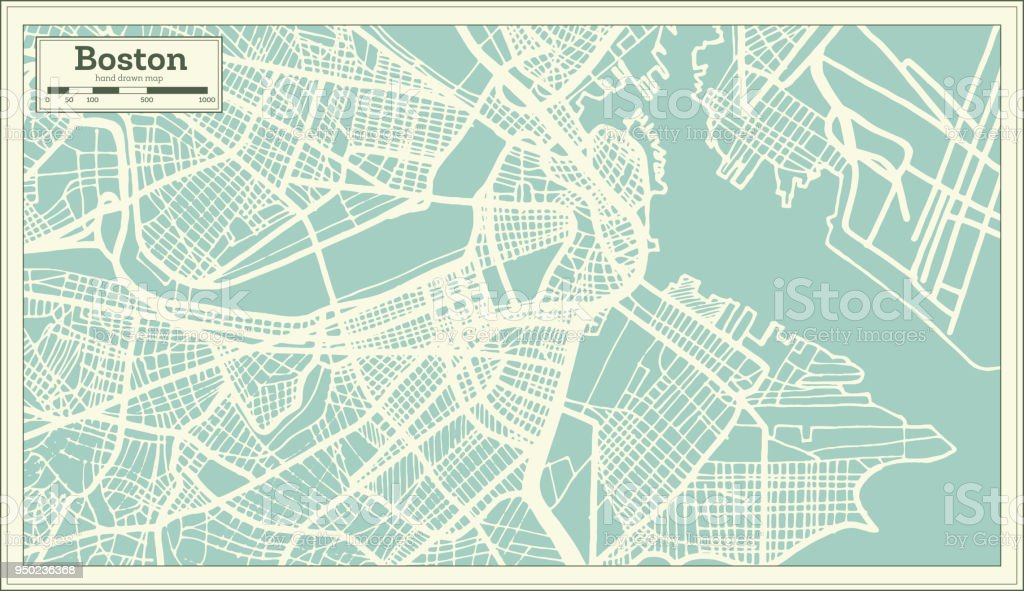 Boston USA City Map in Retro Style. Outline Map. vector art illustration
