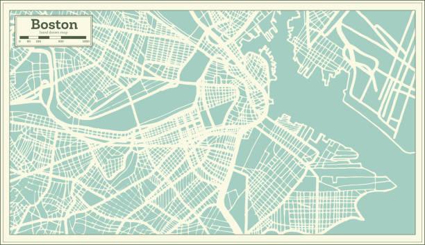 ilustraciones, imágenes clip art, dibujos animados e iconos de stock de mapa de la ciudad de boston usa en estilo retro. mapa de contorno. - mapas vintage