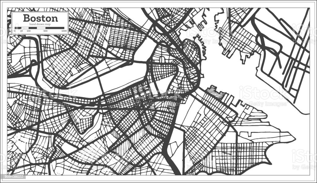 Boston Usa City Map In Retro Style Outline Map Stock Vector Art ...