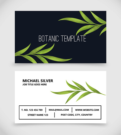 Botanic business card template vector