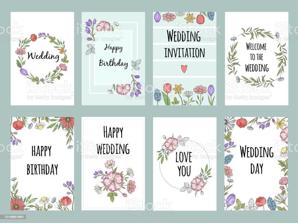 Tarjetas de botánicas con plantas. Plantilla de diseño de vectores de diferentes tarjetas con flores - ilustración de arte vectorial