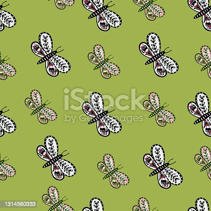 istock Botanic floral ornate butterfly folk silhouettes seamless pattern. Pastel green background. 1314560333