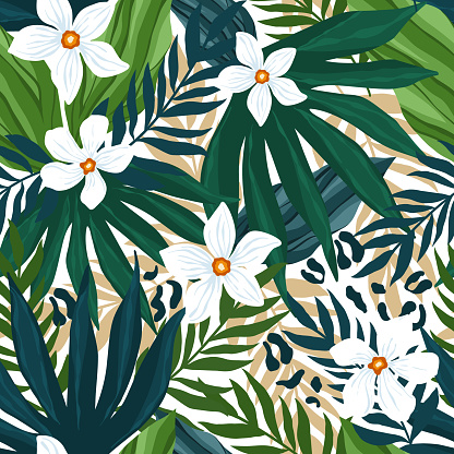 Botanic seamless pattern with exotic flowers, jungle plants, leaves, animal skin, hand drawn background. Abstract floral pattern. Tile with tropical leaf.