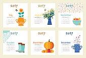 Vector template calendar 2017 . Week starts Sunday
