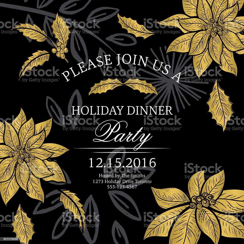 Botanical christmas poinsettia party invitation black and gold stock botanical christmas poinsettia party invitation black and gold royalty free botanical christmas poinsettia party stopboris Gallery