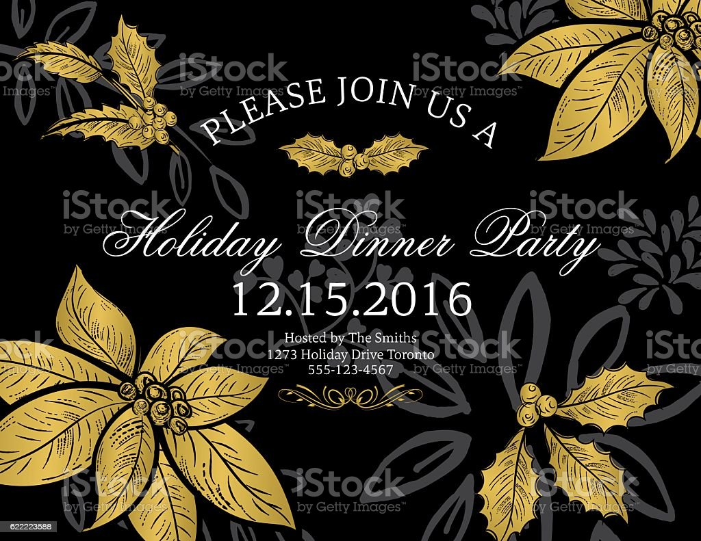 Botanical christmas poinsettia party invitation black and gold stock botanical christmas poinsettia party invitation black and gold royalty free botanical christmas poinsettia party stopboris Image collections