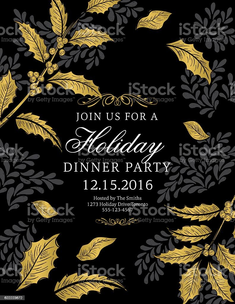 Botanical christmas poinsettia party invitation black and gold stock botanical christmas poinsettia party invitation black and gold royalty free stock vector art stopboris Gallery
