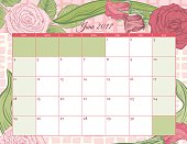 2017 Botanical Floral Desk Pad calendar Template. Assorted leaves and flowers drawn in detailed botanical style frame the pastel calendar sections.The background has a soft pastel pattern. Shades of pinks and greens.