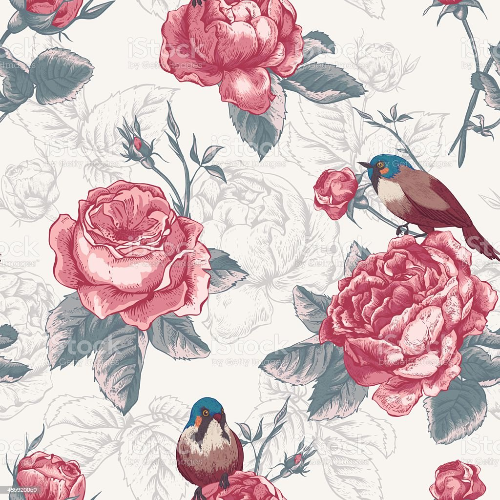 Botanical floral seamless pattern with roses and birds vector art illustration