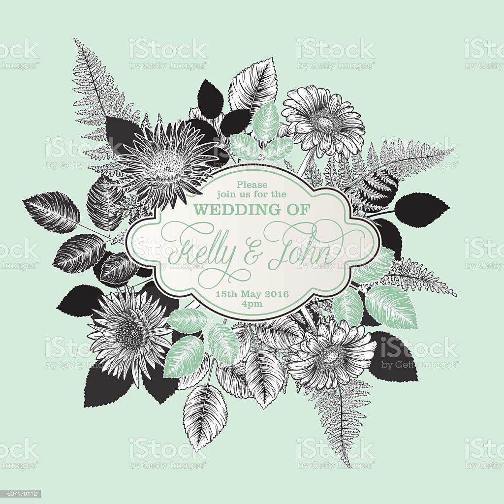 Botanical Flowers Wedding Invitation Template vector art illustration