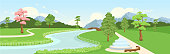 Botanical garden flat color vector illustration. Town eco zone panoramic view. City recreational park. Urban green area. River and streets 2D cartoon landscape with mountains and trees on background