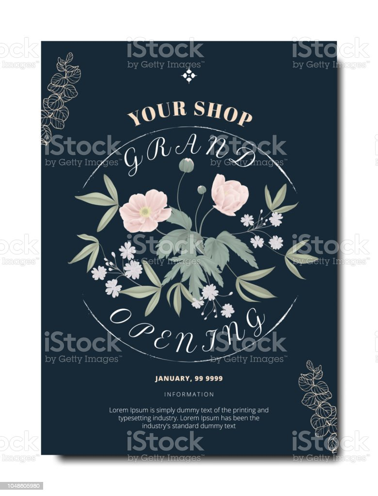 Invitation Inauguration Botanique Carte Modèle Design Rose