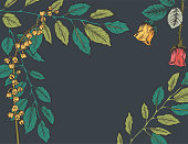 Botanical Hand Drawn Floral Background. Various flowers and leaves.