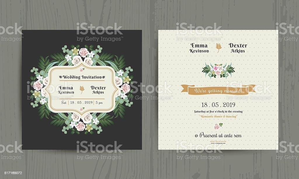Botanical Leaves & Flowers Invitation Card vector art illustration