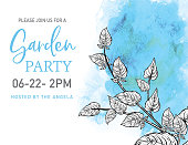 Elegant invite background with botanical style hand drawn leaves and branches with a watercolor shape in the background. Flat color. Branches are contained in a clipping mask.