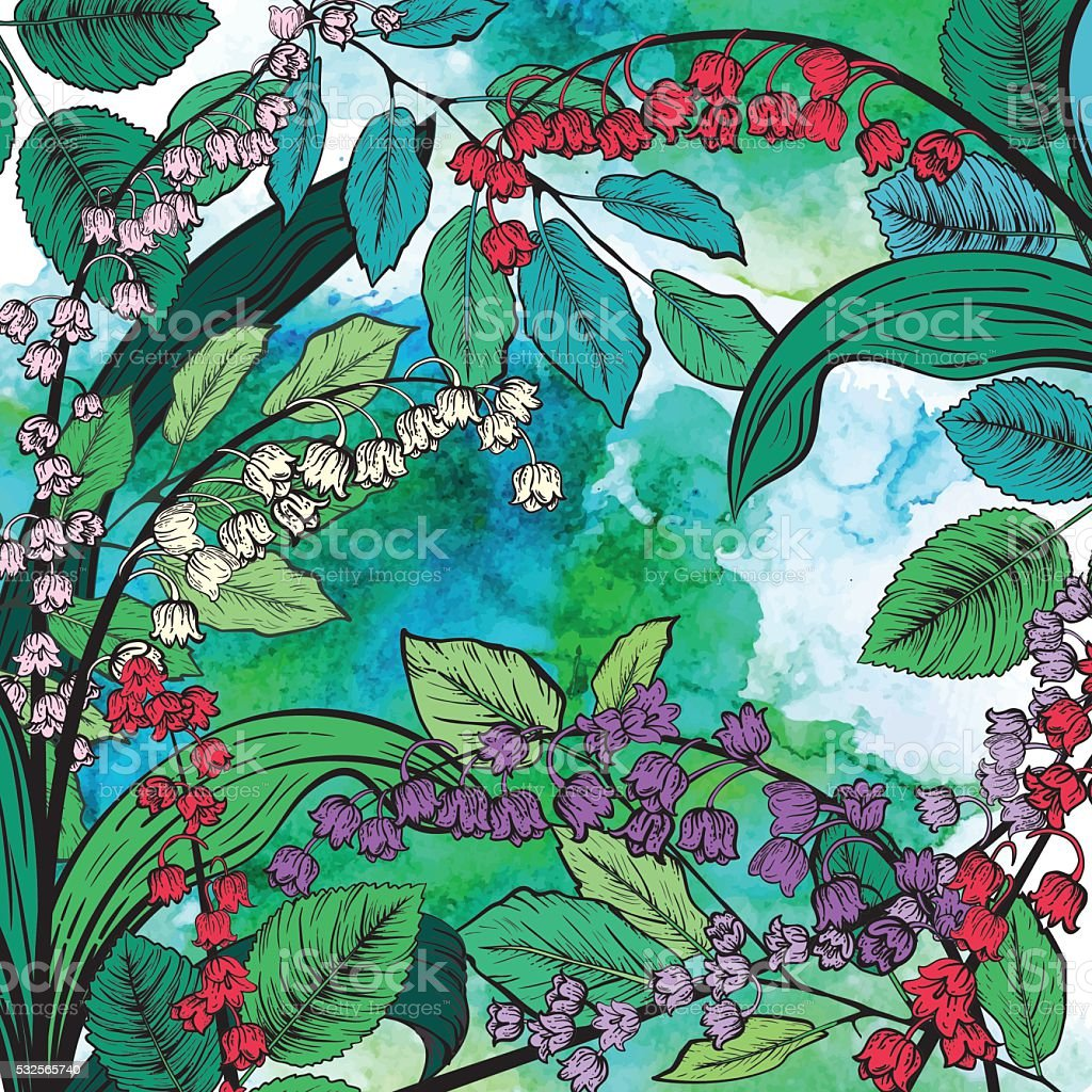 Botanical Lily Of The Valley Floral Background vector art illustration