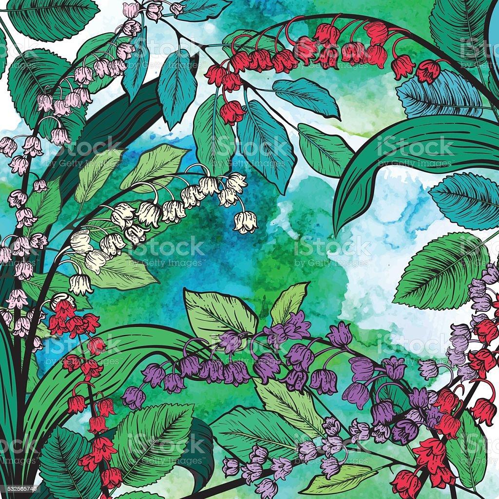 Lirio botánico del valle de fondo Flores - ilustración de arte vectorial