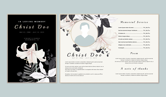 Botanical memorial and funeral invitation card template design, white lilies with black and white leaves on black background