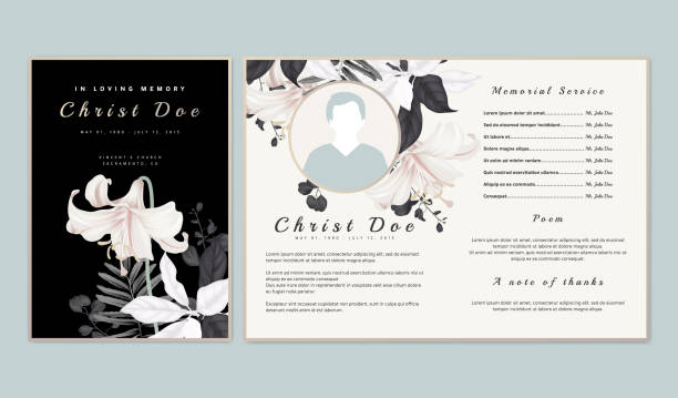 Botanical memorial and funeral invitation card template design, white lilies with black and white leaves on black background Botanical memorial and funeral invitation card template design, white lilies with black and white leaves on black background comfort stock illustrations