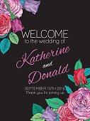 Botanical Roses Floral Wedding Welcome Sign