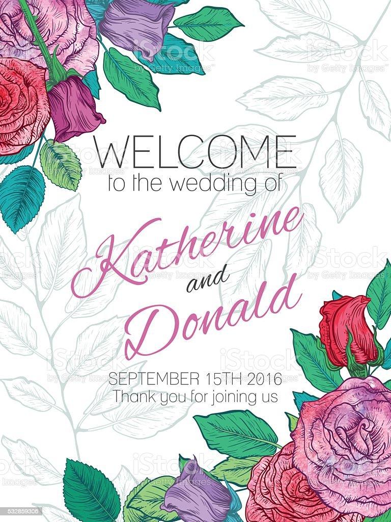 Botanische Rosen Blumen Hochzeit Welcomeschild Stock Vektor Art Und